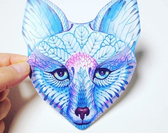 Sticker, Blue Fox face animal sticker, 100% waterproof vinyl label.