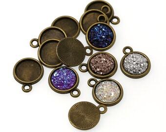 10mm Antiqued Bronze Tone Charm Drop Pendant Tray Bezel Blanks