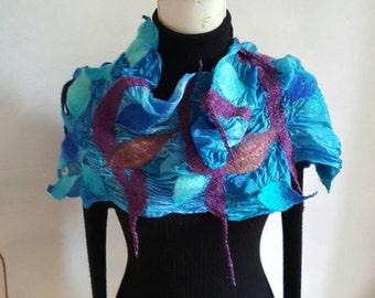 Wonderful nuno felted silk shawl stola