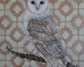 Pinot Grigio Barn Owl Fellow Acrylic Fine Art Painting