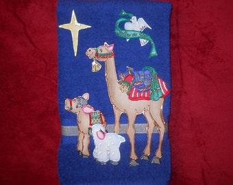 Christmas Towel, Christmas Bathroom Hand Towel, Christmas Kitchen Hand Towel, Nativity Animals Towel, Blue Christmas Towel, Christmas Decor