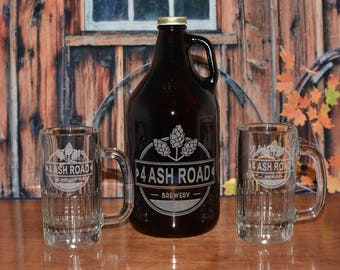 Personalized Beer Growler with you choice of Glassware