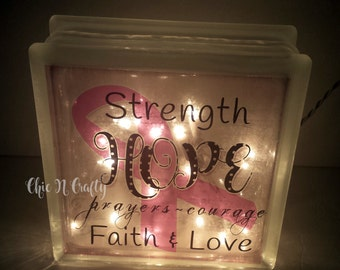 BREAST CANCER AWARENESS | Glass Block Nightlight | Hope | Strength | Courage