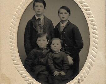 Tintype Photograph 4 Civil War Era Brothers