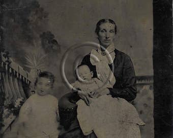 Tintype Photograph Mother and children, Huge Bow