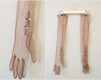 1950s Long Brown Mesh Gloves with Pearl Buttons
