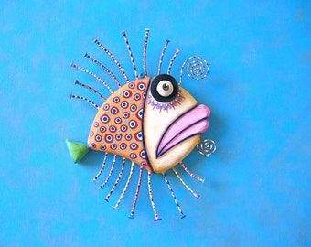 Golden Flounder, Original Found Object Wall Sculpture, Wood Carving, Wall Decor, Fish Art, by Fig Jam Studio