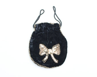 antique 1920s black silk velvet drawstring purse - gold sequined bow / 1920s flapper dance wristlet bag - gold sequins / Gatsby party bag