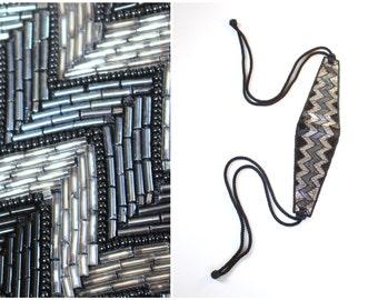 80s sparkly beaded belt - Deco inspired party belt / modern flapper belt - 80s cinch belt / black, gray & silver beaded belt