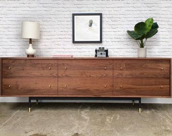 Dumont Dresser - Solid Walnut - Metal Base