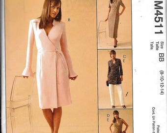McCall's M4511 Wrap Dress Or Tunic Top And Pants Sewing Pattern UNCUT 4511 Size 16,18, 20, 22