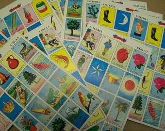 60 RANDOM Traditional Loteria Game Boards, NO DECK - Mexico