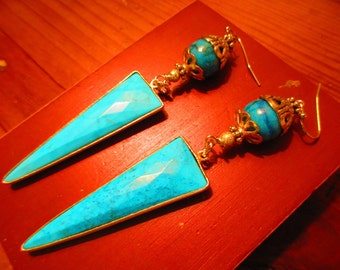 OOAK Genuine TURQUOISE Long Faceted TRIANGLES Set in Vermeil Pierced Earrings w/Large Turquoise Marbled Rounds, Bead Caps, Gold Accents