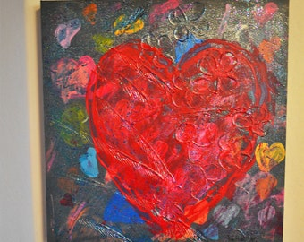 Abstract Painting Hearts over Hearts  Free Shipping U.S.A.  Bohemian Hippie Wall Art  Recycled
