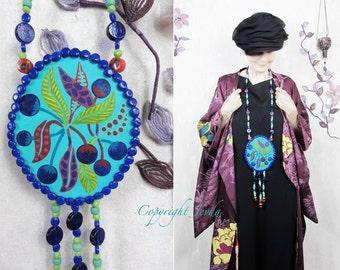 Beaded Necklace, Statment Necklace, Neckpiece, Wearable Art Necklace, Boho Necklace, Sautoir, Blue, Miniature Painting, Art Neckpiece