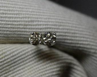 Diamond Stud Earrings, 0.19 Carat Natural Diamond Stud Earrings Sterling Silver 3mm Diameter, Genuine Real Diamond, Earth Mined Diamond,