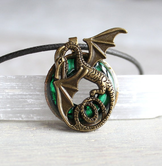 Green dragon necklace dragon jewelry mens necklace mens for Dragon gifts for men