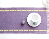 Spring Table Runner Adorned with Ribbon - Easter Table Accessory - Pale Purple Burlap Runner