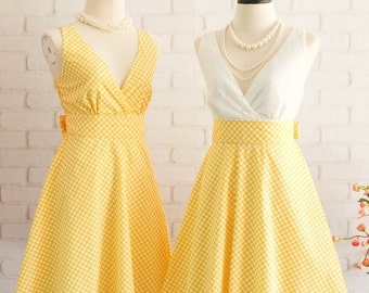 Yellow dress Yellow Plaid Dress Yellow Sundress Yellow Bridesmaid Dresses White Lace Top Yellow Party Dress Yellow Tea Dress Summer Dress