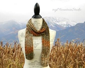 Beautiful Handmade Fashion Scarf in Earthtone Colors. Fall. Autumn. Made in Montana. Ready to Ship.