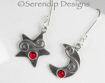 Sterling Silver Moon & Star Earrings with Red Paua and Silver Spirals, Celestial Earrings, Shiny Silver Red Star and Moon Earrings