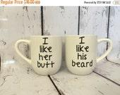 FALLSALE I Like Her Butt I Like His Beard, Funny Personalized, Custom Vinyl 14 oz, White set of 2 Coffee Mugs