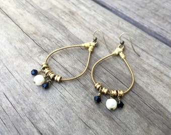 GUITAR STRING EARRINGS - gold, black and white - for teens and adults - recycled/eco-friendly/upcycled jewelry - under 25.00