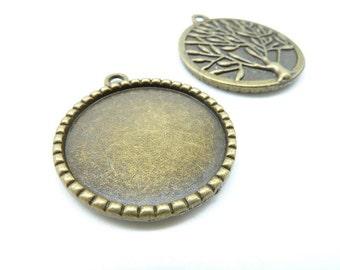 10pcs 25mm HG Antique bronze Round Tree Cameo Cabochon Base Setting Pendants Blank Tray Board C6278