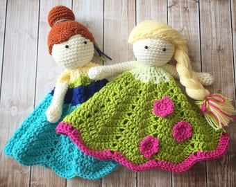 Anna and Elsa Frozen Fever Inspired Lovey/ Security Blanket/Plush Doll/Stuffed Toy/Soft Toy Doll/Amigurumi Doll/Frozen Dolls- MADE TO ORDER