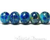 Lapis Blue Drift Rounds - Handmade Artisan Lampwork Beads- SRA -B-195 - Blue glass with Silver - Craft Supplies & Tools -  Free Shipping USA