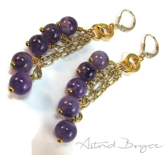 Amethyst Cascade - Ready to Ship - Cascade Earrings Dangle Earrings Drop Earrings -  Genuine Purple Amethyst with 14K Gold Filled Leverbacks