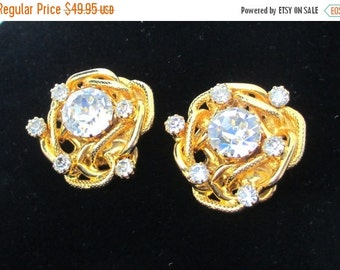 Sale Pre Holliday Vintage Designer, Hattie Carnegie, Clear Rhinestone Earrings, Clip on, Stacked,, Conversion to Pierced Available