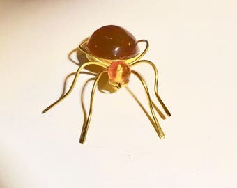 Antique Art deco Spider brooch faux amber Spider Brooch, Nice head one this one.
