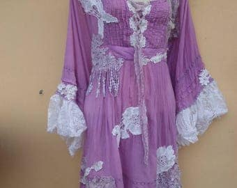 """20%OFF bohemian gypsy lagenlook hippy cotton shabby dress ...smaller to 38"""" bust"""