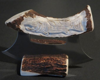 Ulu-Woman's Knife- Hand Carved Large Fish out of Moose and Caribou Horn - Made in Alaska - Sharp Blade  - Great Details -- CMH