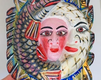 Vintage XL wooden Mexican traditional wall art with engranved face mask / mexican craft  // OOAK art / Mexican Love wedding