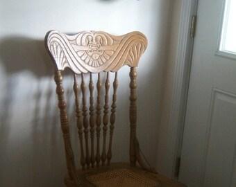 Vintage Victorian Oak Press Back Chair Shabby Chic