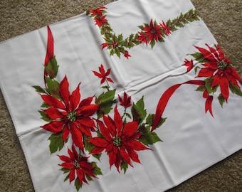 Christmas Poinsettia Print Tablecloth, Cotton Tablecloth