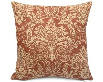Red and Tan Floral Pillow Cover, Brick Red French Provencal Decor, Eco Friendly Linen Pillowcase, Custom Square and Lumbar, Toscana Negative