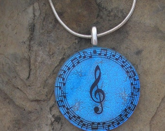 Music Necklace Dichroic Fused Glass Music Pendant