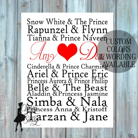 Royalty Couples Disney Royalty Famous Couples True Love List, Love Story Printable Customized Subway Art Printable Our Epic Love Story 123
