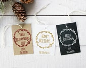 Set of 18 - Laurel Chalkboard Holiday Gift Tags - Personalized Christmas Tags // Personalized Holiday Tags // Christmas Present Tags