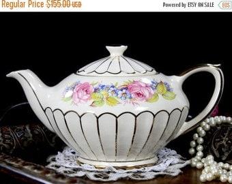 Sadler Teapot, Gilded Tea Pot, Pink Roses, Sadler Tea, Full Sized 4 Cup Pot 12823