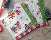 Vintage Santa Coasters Set of 2 Mug Rugs Gift For Teachers Gift Under 15 Hostess Gift