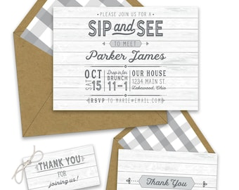 Sip & See Vintage Invitations