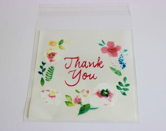 Flowers Frame Thank You Cello Bags Pink and White Favors Self Adhesive 24+ Weddings / Baking / Cookies / Parties