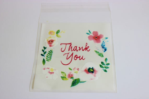 Thank You For Baking: Flowers Frame Thank You Cello Bags Pink And White Favors