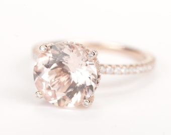Sale - CERTIFIED - GIA Certified Huge Round Morganite & Diamonds Candy Ring 14K Rose Gold
