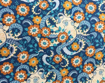 Octopus in Midnight, Hello Love Collection by Heather Bailey for Free Spirit Fabrics 1/2 yd