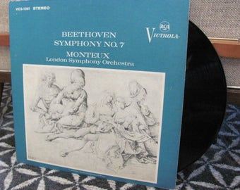 "Vintage Ludwig van Beethoven's ""Symphony No. 7"" Classical Music Vinyl Record Album - Pierre Monteaux - London Symphony Orchestra"